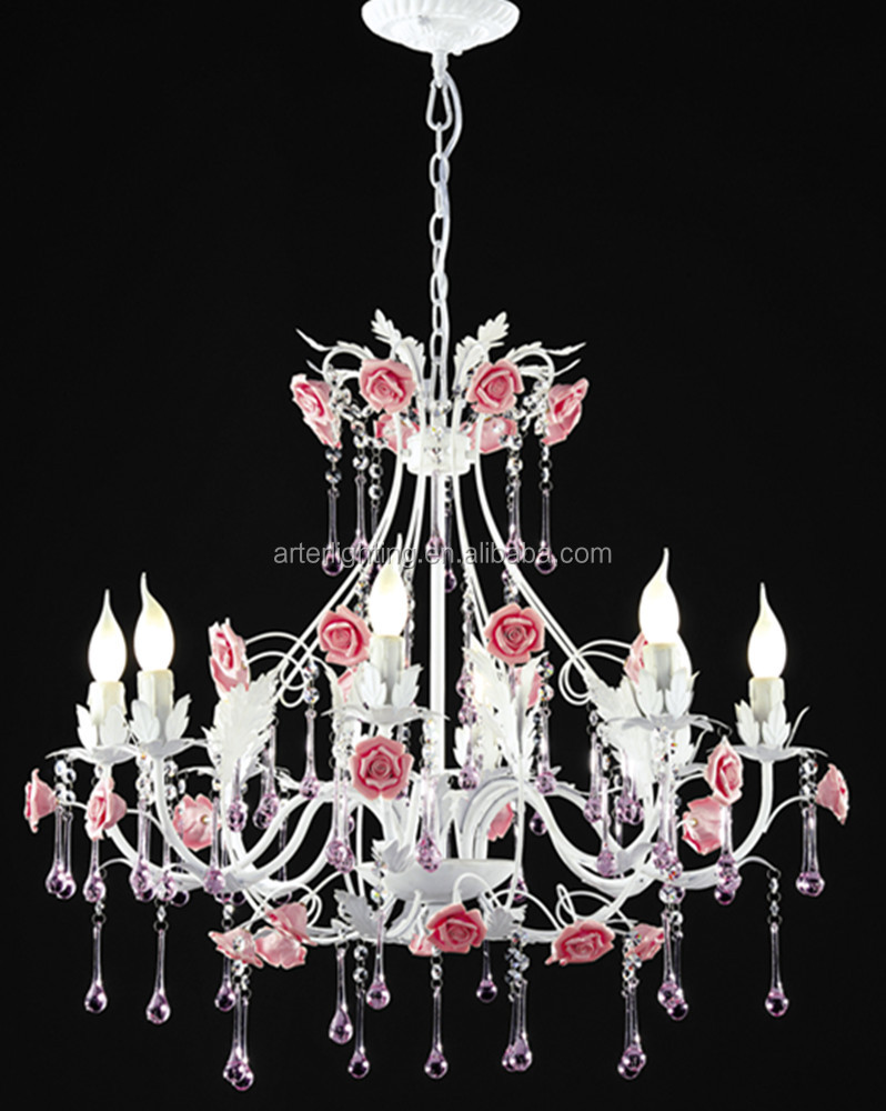 zhongshan 8 lamps french style pink flower chandeliers for wedding decoration