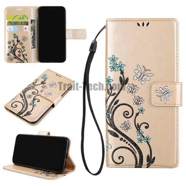 for iPhone X Wallet Cover, Colored Pattern Wrist Strap Embossed PU Leather Protector Phone Case for iPhone X