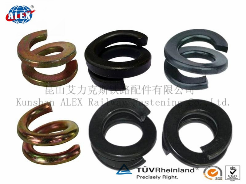 Double Coil Spring Washer for Railway Fastener , Railway fastener Railroad Spring Washer