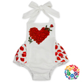 2017 Valentine's Day Baby Bubble Romper Clothing Red Heart Print Ruffle Icing Romper