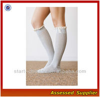 Charming Ruffles Trim Lace Knee High Girls Boots Socks/Girls Knitted Lace Buttons Leg Warmers SH0061