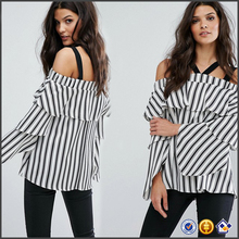 2017 fashion casual ladies Cold-shoulder neck Frill overlay Off Shoulder black and white stripe long sleeve stripe women blouse