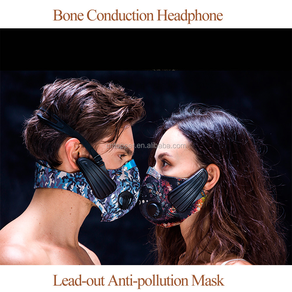 Lead-out Anti-pollution Mask Wireless Bone Conduction Headphone Stereo Handfree Headset Anti-dust Proofmask for Outdoor Sports
