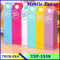 Mobile Power bank milk,rohs power bank,cute milk Mobile Extra Power