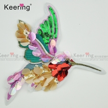 Beautiful colorful Sequin birds China 3d embroidery patch for blouses