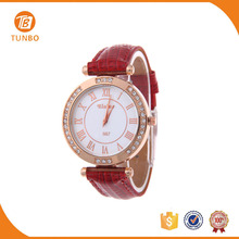Cheap leather strap watch hand watch for girl