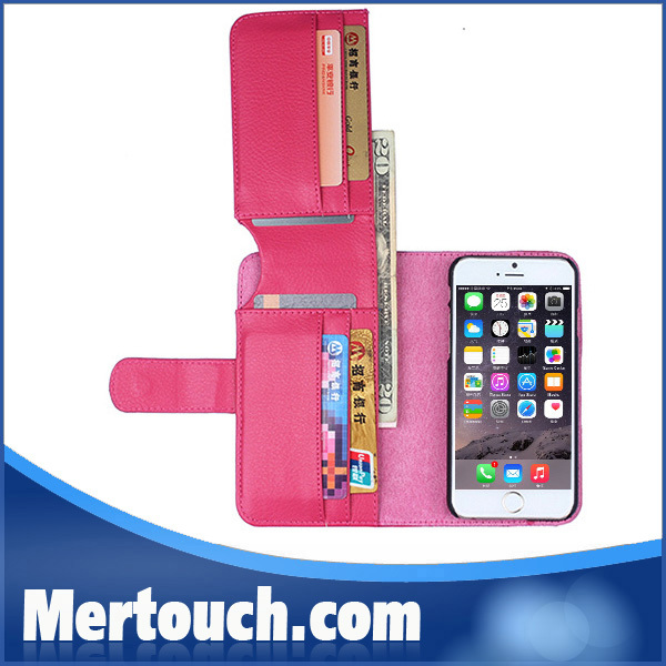 3 fold 7 credit card slot wallet leather case for iphone 6 with 5 color PU leather office fashion mobile phone case