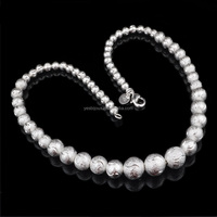 silver beand necklace sand bead sterling silver jewelry