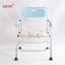 New Style rubber handles handicapped medical steel folding commode