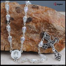 Religious drop point crystal beads necklace jewelry with cross pendant