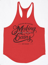 soft lightweight cotton red stringer singlets vest custom with oval hem and printing logo for muscle body building