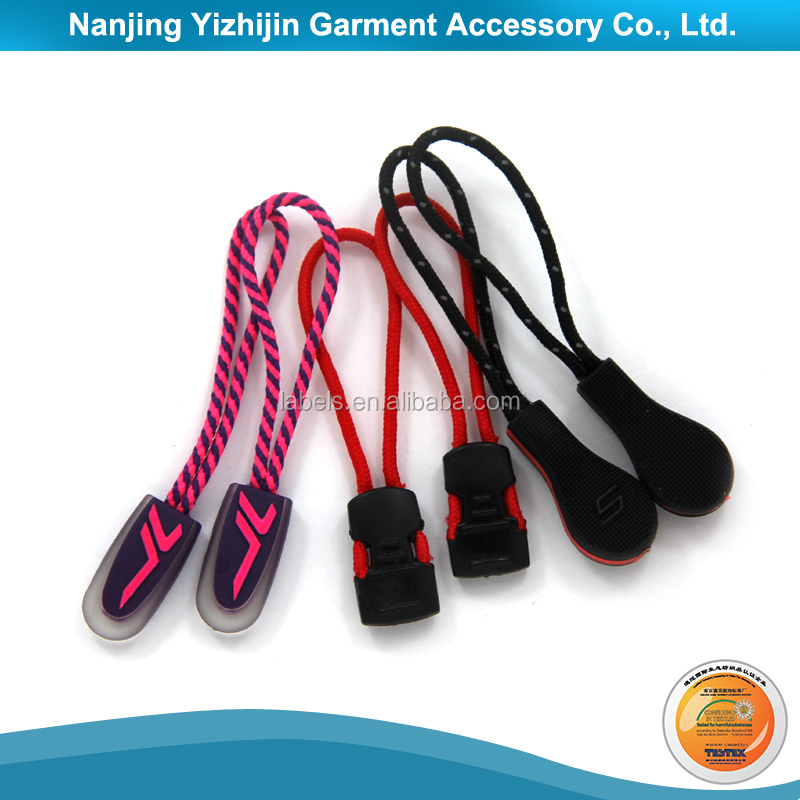 Single / double side custom logo rubber zipper pull and slider