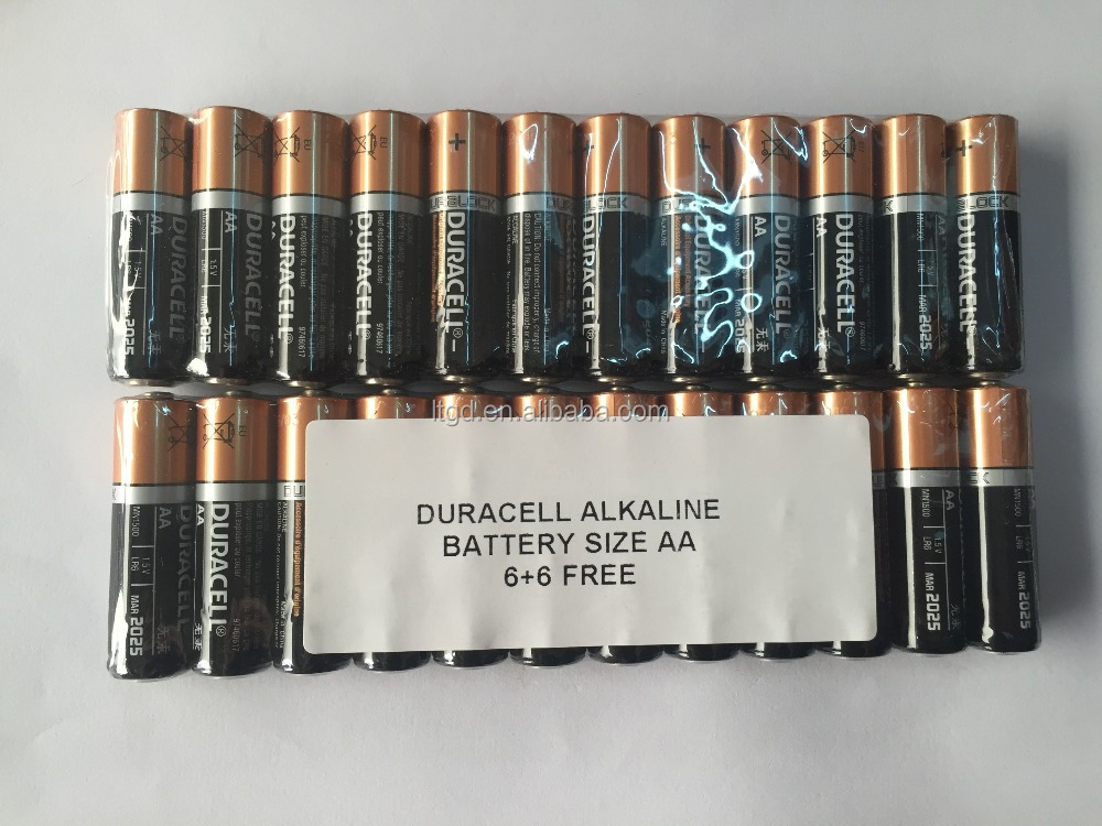 industry loose pack duralock 6+6 free battery duracel aa size
