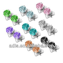 Earring Piercing Heart Prong Set Cubic Zirconia CZ Stud Stone Stainless Steel