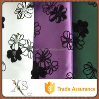 China Supplier Beautiful Flower Design Bestseller Wholesale Flock Fabric For Dresses