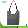 Simple and Novel Design Canvas Tote Bag With Leather Handle