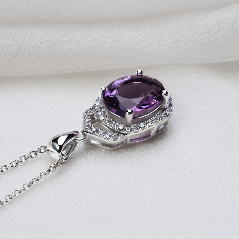 natural amethyst 925 sterling silver pendant wholesale silver jewelry