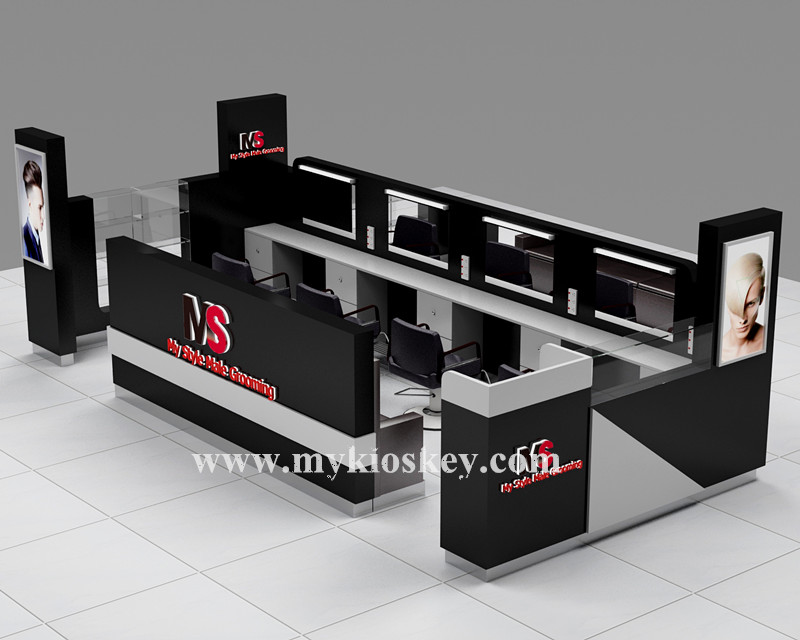 custom wooden mall hair beauty salon kiosk for shopping mall