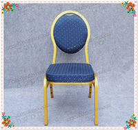 Modern gold frame and blue fabric aluminum oval back dining chair YC-ZL10-08