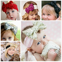 Fashion Elastic Children Headband Cute Sequins Shining Bow Baby Girl <strong>Hair</strong> <strong>Accessories</strong>