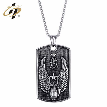 Bulk items zinc alloy embossed cross custom metal dog tag with necklace