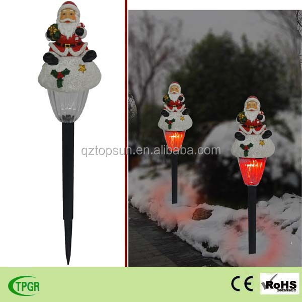 Cheap led Christmas lights polyresin santa with plastic solar stake ornaments