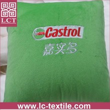 supply open as a blanket softest plush fabric advertising cushion with branding logo embrideried(LCTP0044)