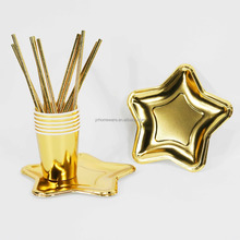 Metallic Gold And Sliver Party Set For Decoration Disposable Party Tableware 6 Paper Cups 6 Plates 10 Straws