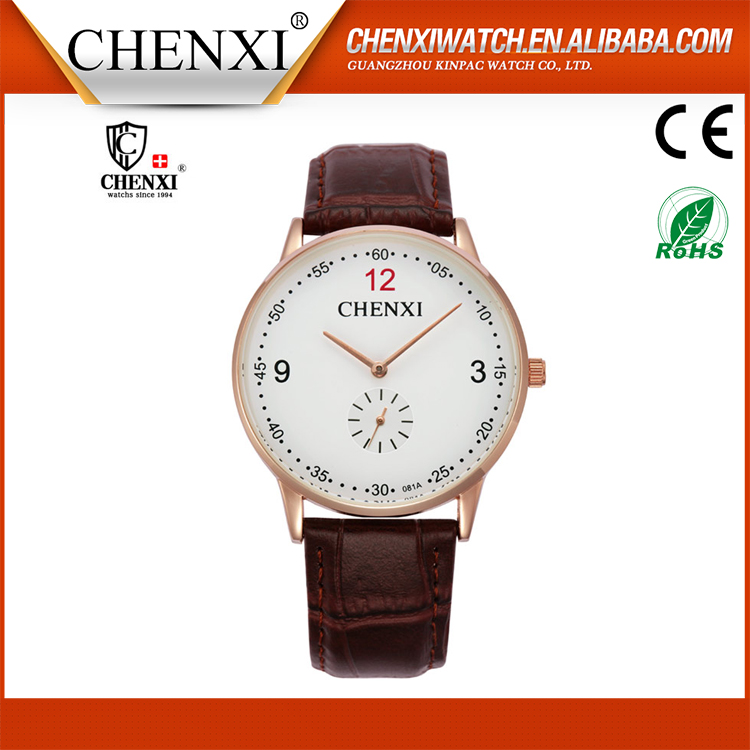 Wholesale Genuine Leather Strap Wrist Brand Watch Low Price Leather Watches Men'S
