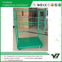 2015 hot sell heavy duty green powder collapsible three side cargo trolley with wheels (YB-L010)