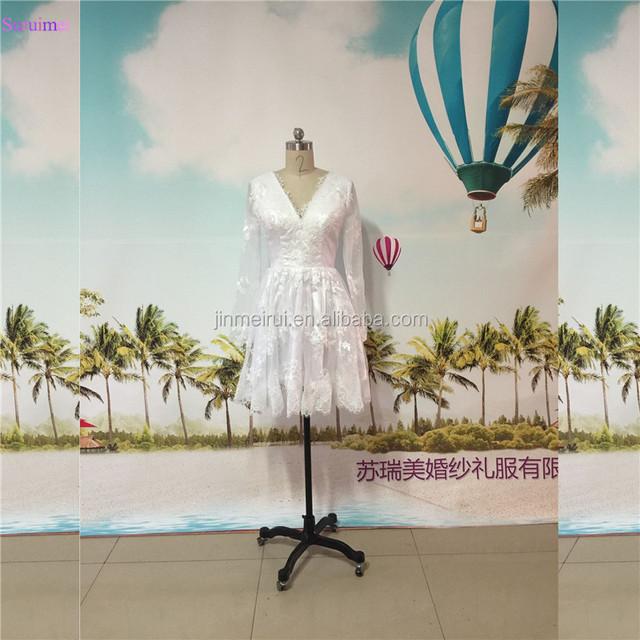 Short Knee Length Vintage Wedding Dresses V Neck Long Sleeves Bride Dress