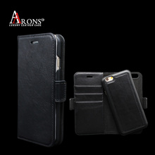 Personalised easy remove black leather mobile phone case wallet for iphone 6s free logo embossed