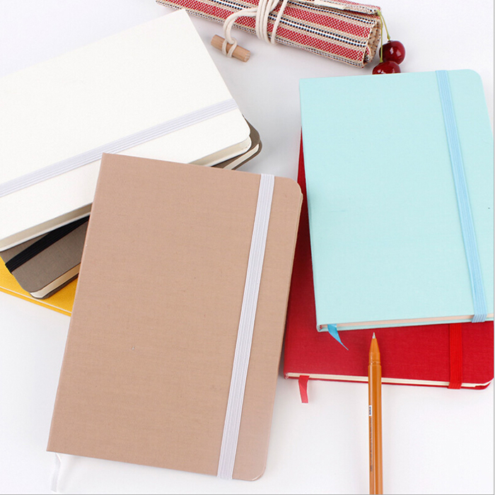 Arrival Premium Linen Fabric Cloth Cover A5/A6/A7 Solid Color Notebook With Elastic Band