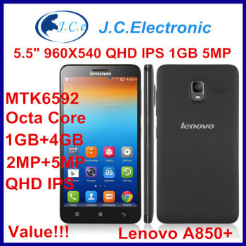 "Original Lenovo A850+ Octa core MTK6592 1.4G Multi-language Dual-SIM WCDMA 5.5""QHD IPS 1G RAM+4GB ROM Black White"