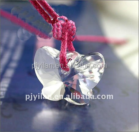 crystal jewelry clear 925 silver laser engraved butterfly crystal butterfly pendant