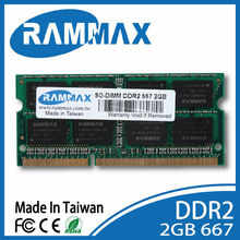 RamMax TAIWAN brand DDR2 2GB 667 MHz SO DIMM For Laptop notebook PC2 5300 CL5 200 PIN 128x8x16C module for macbook