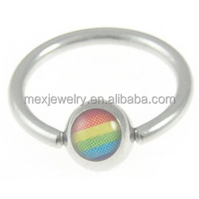 Surgical stainless steel Rainbow Captive Bead Gay & Lesbian Pride Ring Eyebrow / Belly & Body Jewelry