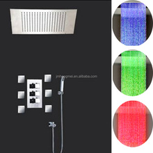 Modern Shower Faucets Thermostatic LED Shower Set Rain Shower System With Wall Mounted Massage Body Jets