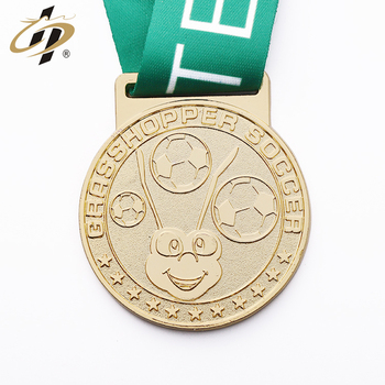 Shanghua high quality custom metal 2d gold soccer award medal with ribbon