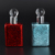 15ml square shaped glass essential oil bottles empty UV red blue crackle colored perfume glass bottle with glass stick cap
