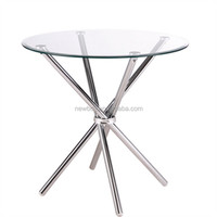 Modern Hot Selling Low Price Tempered Round Glass Dining Table With Chromed Metal Leg