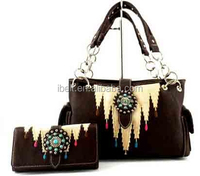 CONCEALED WEAPON CARRY PISTOL GUN AZTEC TURQUOISE CONCHO WESTERN PURSE TRIFOLD WALLET SET BROWN