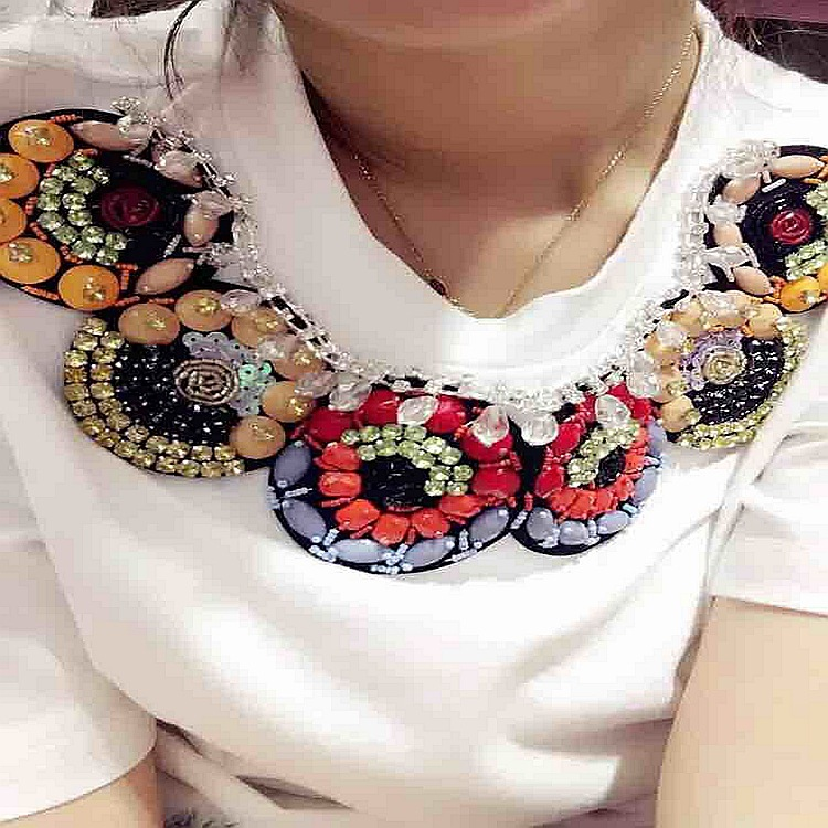 embroidery neck lace neck patch Pearl Beaded sequin Collar Neckline Trimming for Dress Decoration