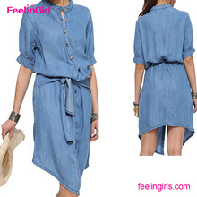 Drop Shippping Light Blue Fashion Summer Denim One Piece Dress