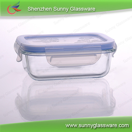 heat resistant borosilicate glass food storage container with plastic lid