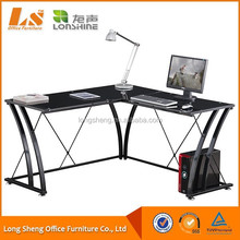 Modern Lightweight L Shaped Glass Computer Desk