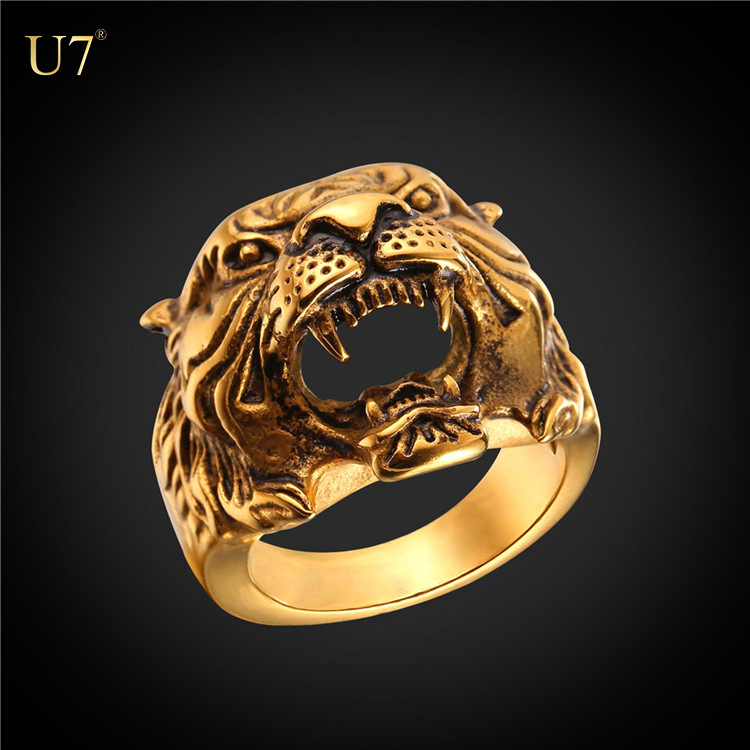 U7 2017 unique design gold plated mans ring animal jewelry 316L stainless steel antique tiger ring for men