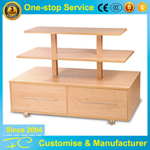 Clothing or bag shoes store movable wood table top product display shelf showcase