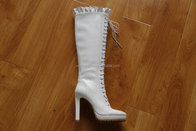 XG313 white knee high long boots high heel lace up pu knee boots