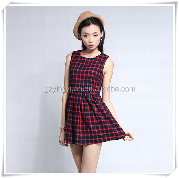 OEM sleeveless red and black scoop neck school mini plaid grid dress with hidden zipper